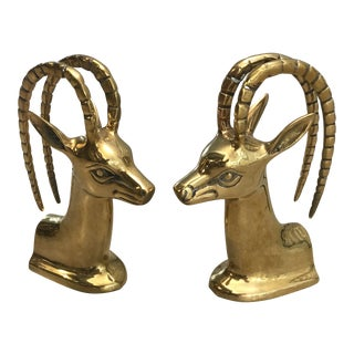 1970s Brass Antelope Bookends - a Pair For Sale