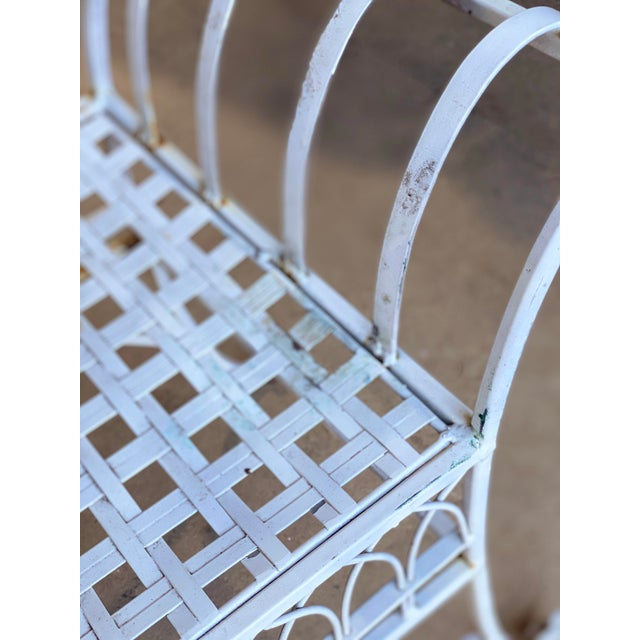 Vintage Victorian White Wrought Iron Sculpted Patio Garden Bench For Sale - Image 9 of 12
