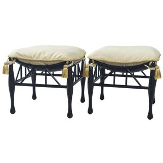 Scoop Top Black Ottomans - a Pair For Sale