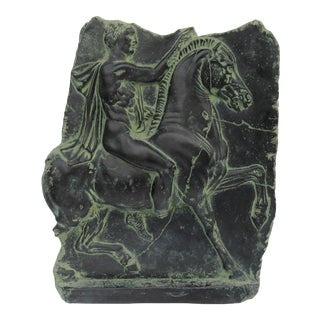 Mid-Century Greco-Roman Warrior Verdigris & Black Wall Relief Sculpture For Sale
