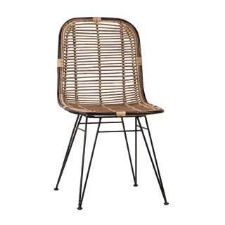 Rattan & Black Dining Chair For Sale