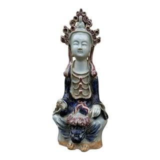 Vintage Celadon Quan Yin Statue For Sale