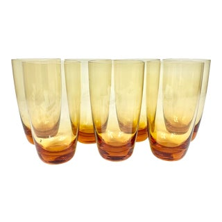 Vintage Amber Colored Tall Glasses-Set of 7 For Sale