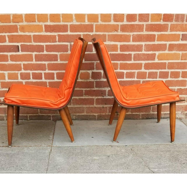 Carter Brothers Mid-Century Bentwood Upholstered Carter Brothers Scoop Chairs- A Pair For Sale - Image 4 of 9