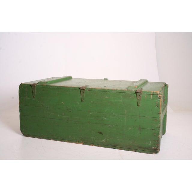 Vintage Military Green Wood Foot Locker - Image 7 of 11