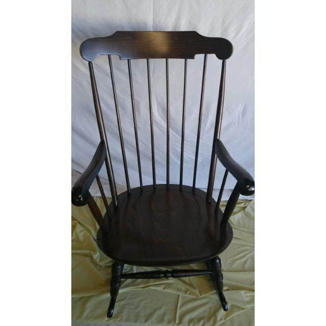 Country Vintage Spindle Back Windsor Rocking Chair For Sale - Image 3 of 5