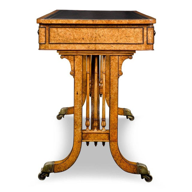 Hollywood Regency Regency Amboyna Library Table For Sale - Image 3 of 5
