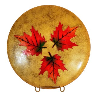 Mid 20th Century Vintage Enamel Leaf Copper Plate Maple Gagnon Signed Canada Canadian For Sale