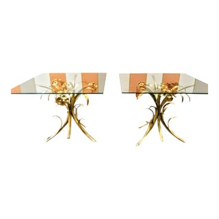 A Pair Vintage Italian Tole Gold Gilded Floral Palm Beach Regency Iron Italian Small Side Tables For Sale