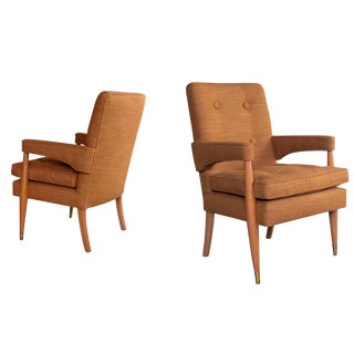 A Handsome and Stylish Pair of American Mid-Century High-Back Upholstered Arm Chairs For Sale