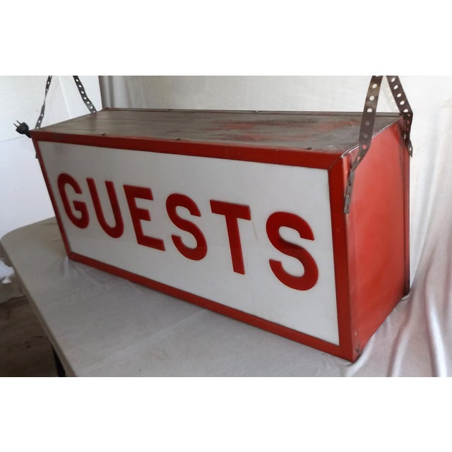 """Vintage Double-Sided Lit """"Guests"""" Sign - Image 6 of 10"""