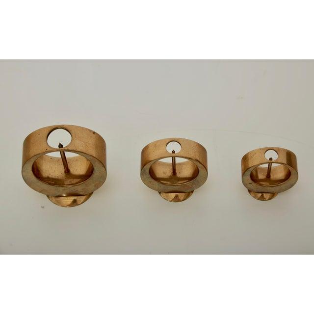 Mid-Century Modern Set of Rare Brass Candlesticks by Artur Pe Kolbäck, Sweden, 1950s For Sale - Image 3 of 6
