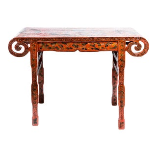 19Th. Century Chinese Red Lacquer Scrolled Altar Table For Sale