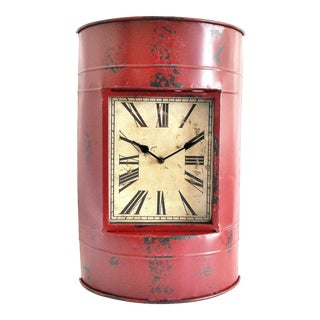 Vintage Metal Barrel Clock For Sale