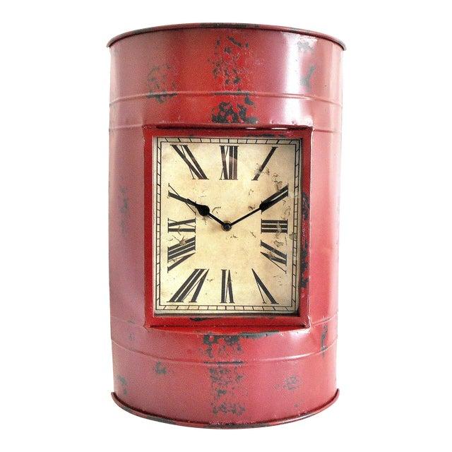 Vintage Metal Barrel Clock For Sale