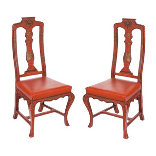 Vintage Red Italian Japanned Chairs - a Pair For Sale