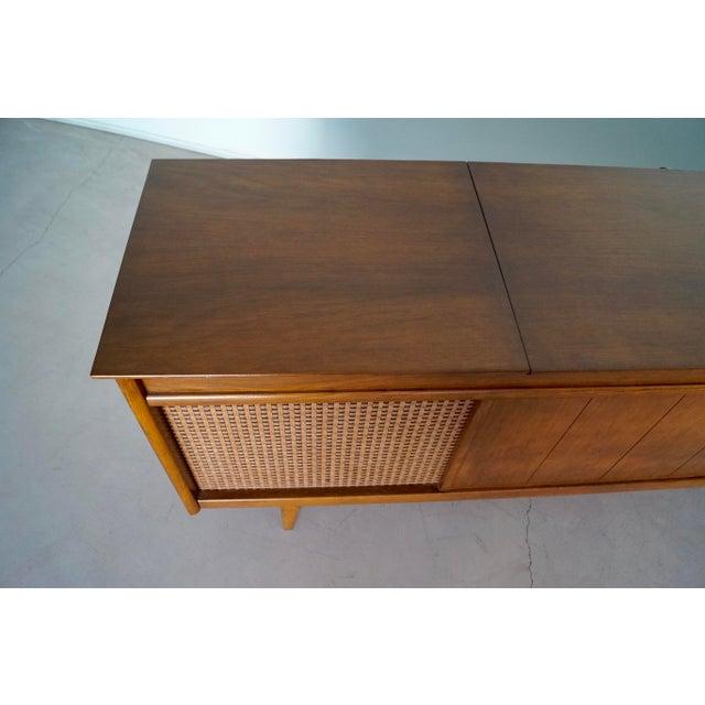 Walnut 1960s Danish Modern Silvertone Walnut Record Console For Sale - Image 7 of 13