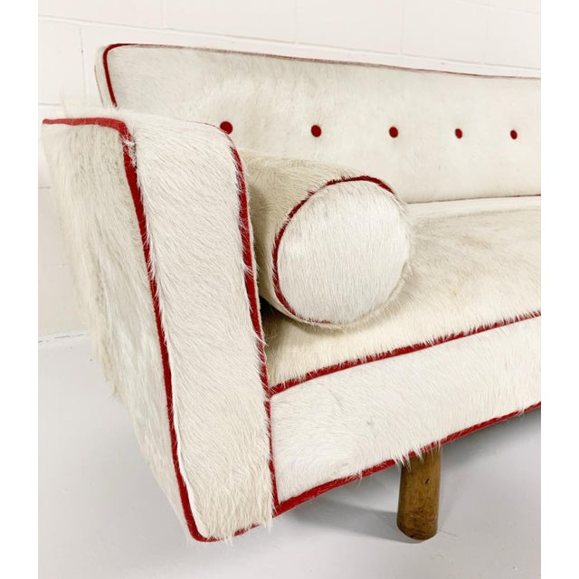 Dunbar Furniture Vintage Edward Wormley for Dunbar Model 5316 Sofa Restored in Brazilian Cowhide With Loro Piana Red Cashmere Welting For Sale - Image 4 of 11