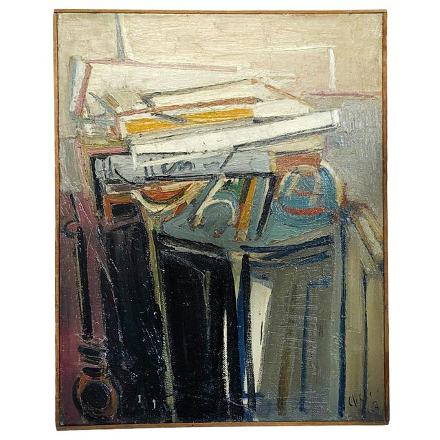 1960s 20th Century Abstract Books on a Console Painting by Daniel Clesse For Sale - Image 5 of 5