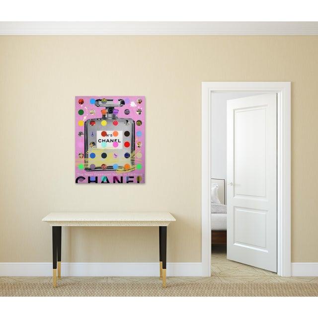 "Nelson De La Nuez ""Chanel #5 Pink With Grey Bottle (118/125)"" Original Painting For Sale - Image 11 of 11"