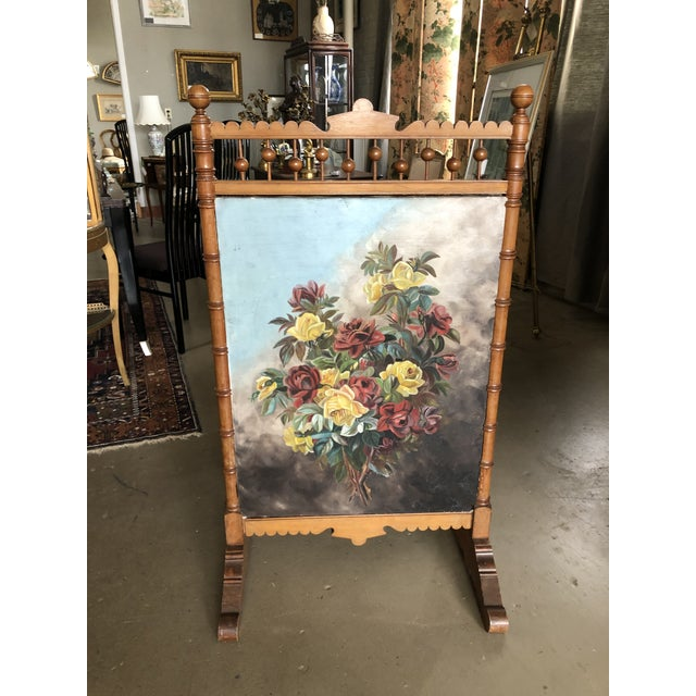 Victorian Circa 1880 Summer Fireplace Screen With Floral Painting and Velvet Screen For Sale - Image 13 of 13