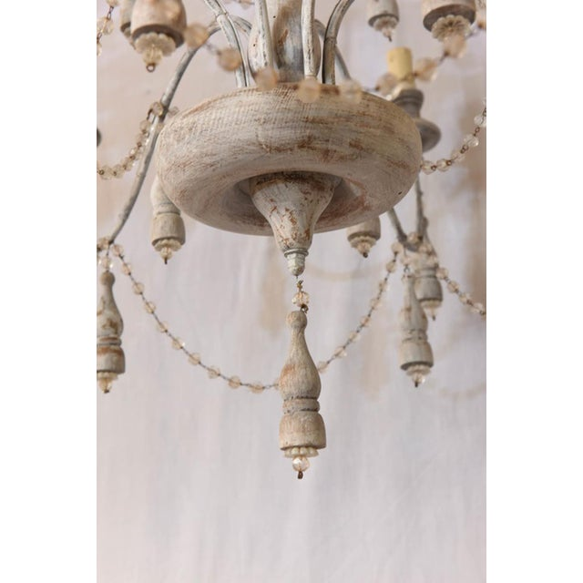 Italian Two-Tier Chandelier Strung with Beads and Tassels For Sale - Image 4 of 8