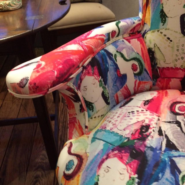 Oly Silkscreened Armchairs - Pair - Image 4 of 5