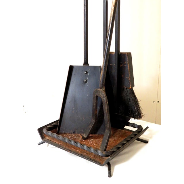 Great set of true vintage, mid century modern, fireplace tools. The tool set consists of a log poker, shovel, and a sweep....