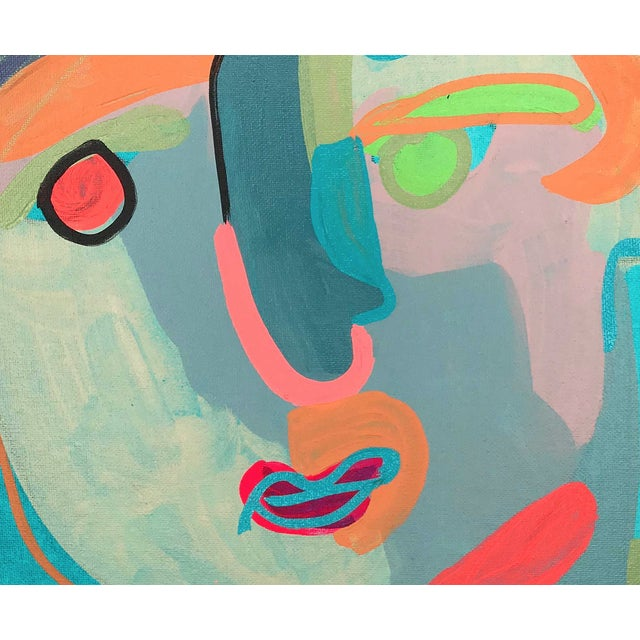 "Contemporary Abstract Portrait Painting ""Let's Chat, No. 2"" For Sale In Detroit - Image 6 of 7"
