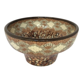 French Vallauris Clay Mosaic Bowl by Master Ceramicist Jean Gerbino