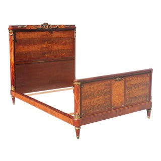 French Louis XVI Flame Mahogany With Bronze Hardware ''FULL'' Beds Circa 1890s