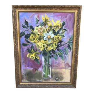 Late 20th Century Casey Laird Floral Still Life Original Painting For Sale