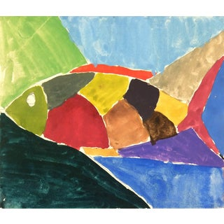 Contemporary French Watercolor - Varicolored Fish For Sale