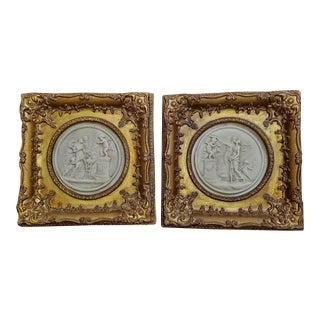 19c French Framed Marble Plaques Pair Ft Cherubs For Sale