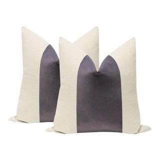 "22"" Smokey Amethyst Velvet Panel & Linen Pillows - a Pair For Sale"