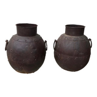 1970s Hand Hammered Sheet Iron Pots - a Pair For Sale