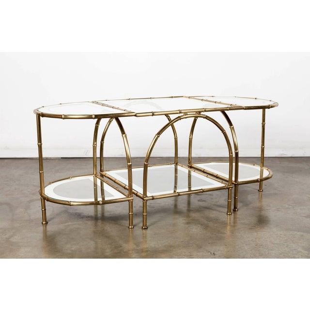 Brass Hollywood Regency Maison Baguès Brass Faux Bamboo Three-Piece Coffee Table - 3 Pieces For Sale - Image 7 of 10