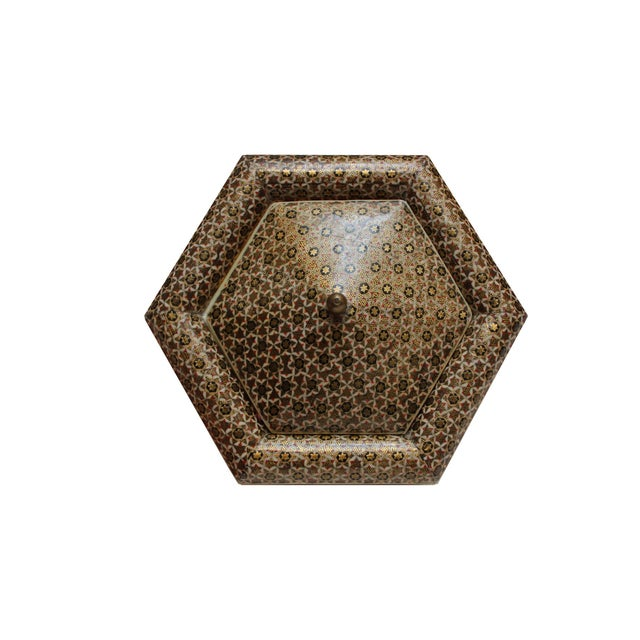 Boho Chic Hexagonal Wood Inlaid Box For Sale - Image 3 of 4