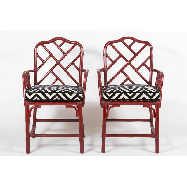 Vintage Bamboo Chinese Chippendale Chairs - A Pair - Image 4 of 9