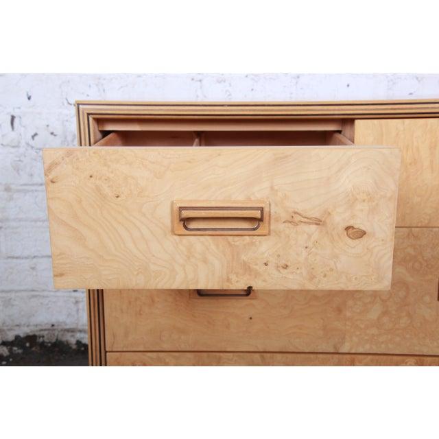 Brown Milo Baughman Style Burl Wood Dresser or Credenza by Henredon For Sale - Image 8 of 13