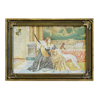 Charming Vintage Print on Canvas Panel For Sale