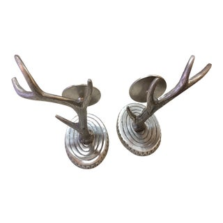 Nickel Pewter Wall Mount Antler Candle Holders - a Pair For Sale