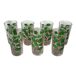 Vintage Christmas Holly Hi-Ball Glasses - a Set of 7 For Sale