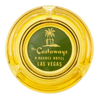 The Castaways Hotel Yellow Glass Ashtray For Sale