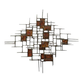 Mid-Century Modern Signed Brutalist Style Metal Wall Art For Sale