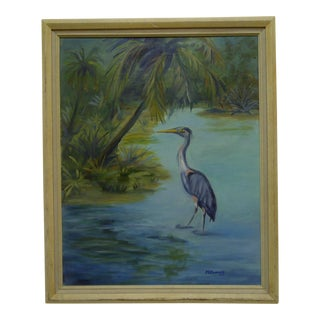 "1991 M.E. Connoly Original ""The Stork"" Framed Painting on Canvas"