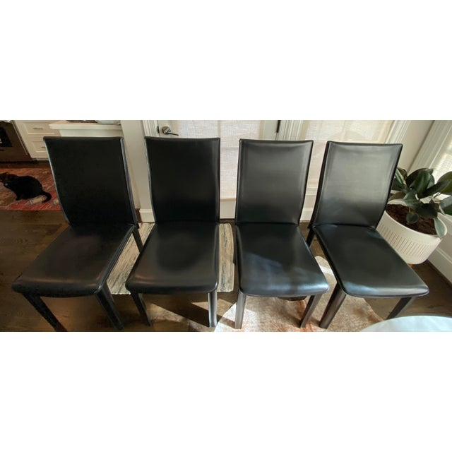 Leather Modern Italian Black Leather Dining Chairs by Arper-Set of 4 For Sale - Image 7 of 7
