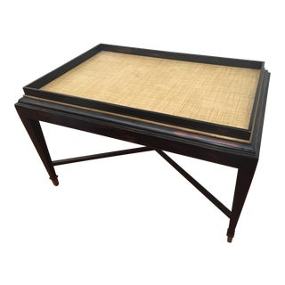 20th Century Hollywood Regency Grasscloth Tray Top Wooden Cocktail/Coffee Table For Sale