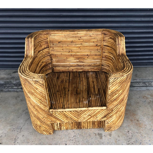 Vintage Split Reed Rattan Club Chair For Sale - Image 4 of 13
