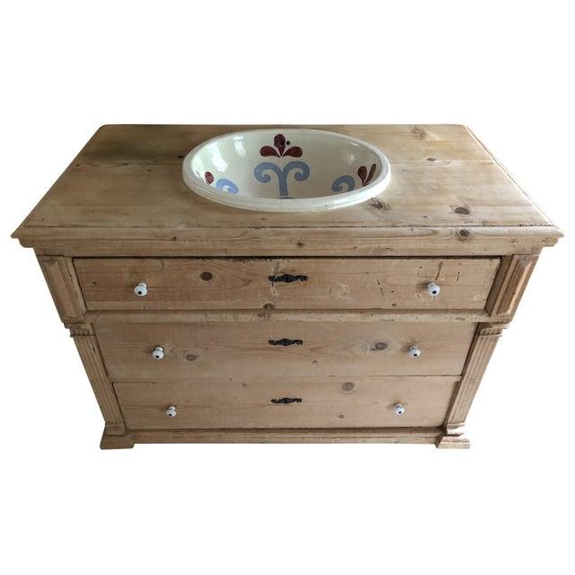 Custom Pine 3-Drawer Bathroom Vanity With Talavera Sink For Sale - Image 13 of 13